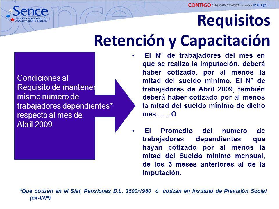 Requisitos Retención y Capacitación * Que cotizan en el Sist. Pensiones D.L. 3500/1980 ó cotizan en Instituto de Previsión Social (ex-INP) El N° de tr