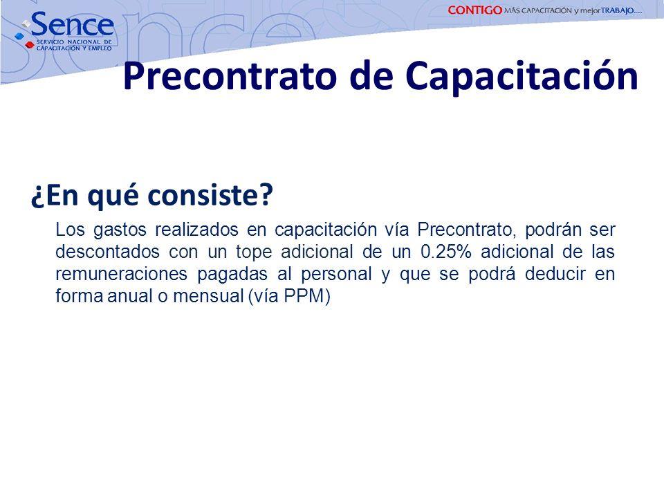 ¿En qué consiste? Los gastos realizados en capacitación vía Precontrato, podrán ser descontados con un tope adicional de un 0.25% adicional de las rem