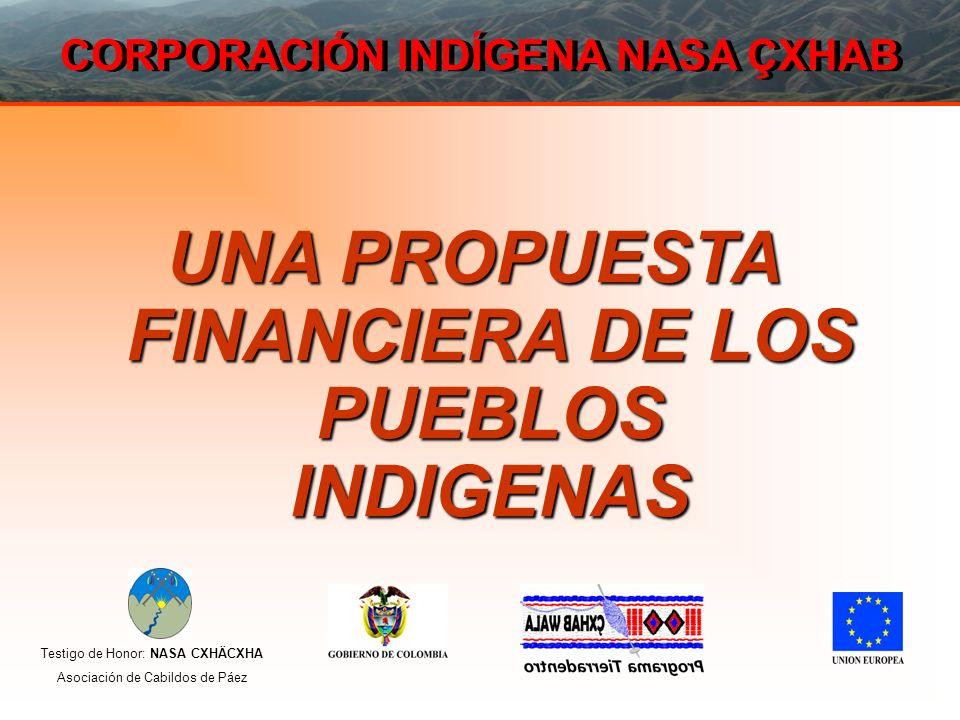 Testigo de Honor: NASA CXHÄCXHA Asociación de Cabildos de Páez CORPORACIÓN INDÍGENA NASA ÇXHAB UNA PROPUESTA FINANCIERA DE LOS PUEBLOS INDIGENAS