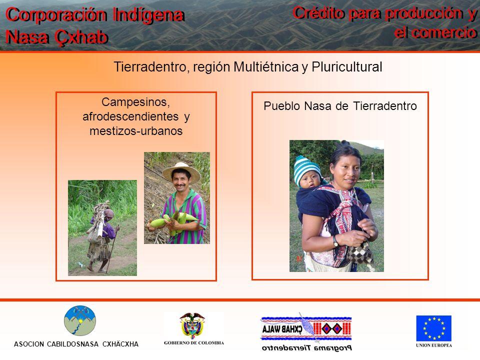 Tierradentro, región Multiétnica y Pluricultural Pueblo Nasa de Tierradentro Campesinos, afrodescendientes y mestizos-urbanos Corporación Indígena Nas