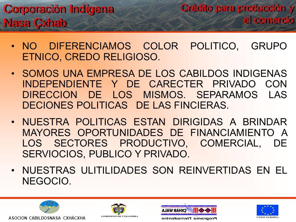 Corporación Indígena Nasa Çxhab ASOCION CABILDOSNASA CXHÄCXHA Crédito para producción y el comercio NO DIFERENCIAMOS COLOR POLITICO, GRUPO ETNICO, CREDO RELIGIOSO.