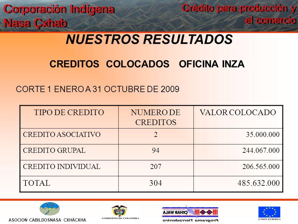 Corporación Indígena Nasa Çxhab ASOCION CABILDOSNASA CXHÄCXHA Crédito para producción y el comercio NUESTROS RESULTADOS CORTE 1 ENERO A 31 OCTUBRE DE 2009 TIPO DE CREDITONUMERO DE CREDITOS VALOR COLOCADO CREDITO ASOCIATIVO2 35.000.000 CREDITO GRUPAL94244.067.000 CREDITO INDIVIDUAL207206.565.000 TOTAL304485.632.000 CREDITOS COLOCADOS OFICINA INZA