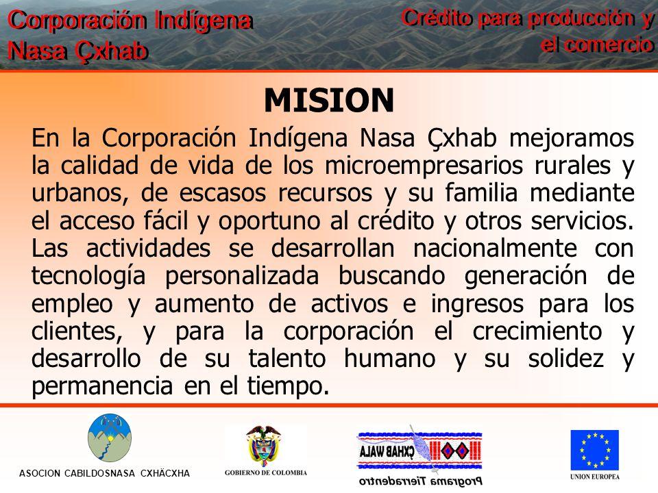 MISION En la Corporación Indígena Nasa Çxhab mejoramos la calidad de vida de los microempresarios rurales y urbanos, de escasos recursos y su familia mediante el acceso fácil y oportuno al crédito y otros servicios.