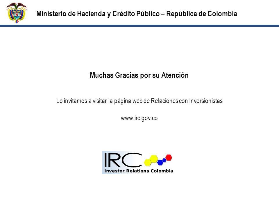 Muchas Gracias por su Atención Lo invitamos a visitar la página web de Relaciones con Inversionistas www.irc.gov.co Ministerio de Hacienda y Crédito Público – República de Colombia