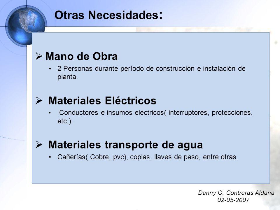Otras Necesidades : Mano de Obra 2 Personas durante período de construcción e instalación de planta. Materiales Eléctricos Conductores e insumos eléct