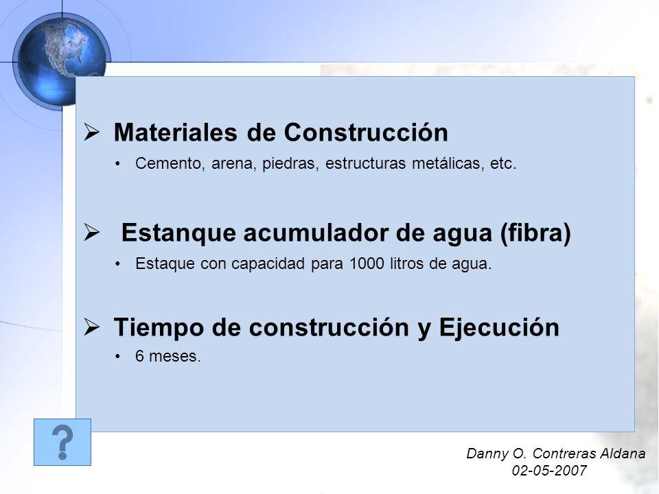 Materiales de Construcción Cemento, arena, piedras, estructuras metálicas, etc. Estanque acumulador de agua (fibra) Estaque con capacidad para 1000 li