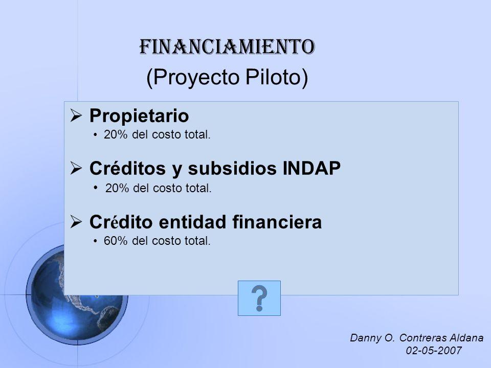 Financiamiento (Proyecto Piloto) Propietario 20% del costo total. Créditos y subsidios INDAP 20% del costo total. Cr é dito entidad financiera 60% del
