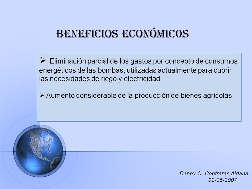 Beneficios económicos Eliminación parcial de los gastos por concepto de consumos energéticos de las bombas, utilizadas actualmente para cubrir las nec