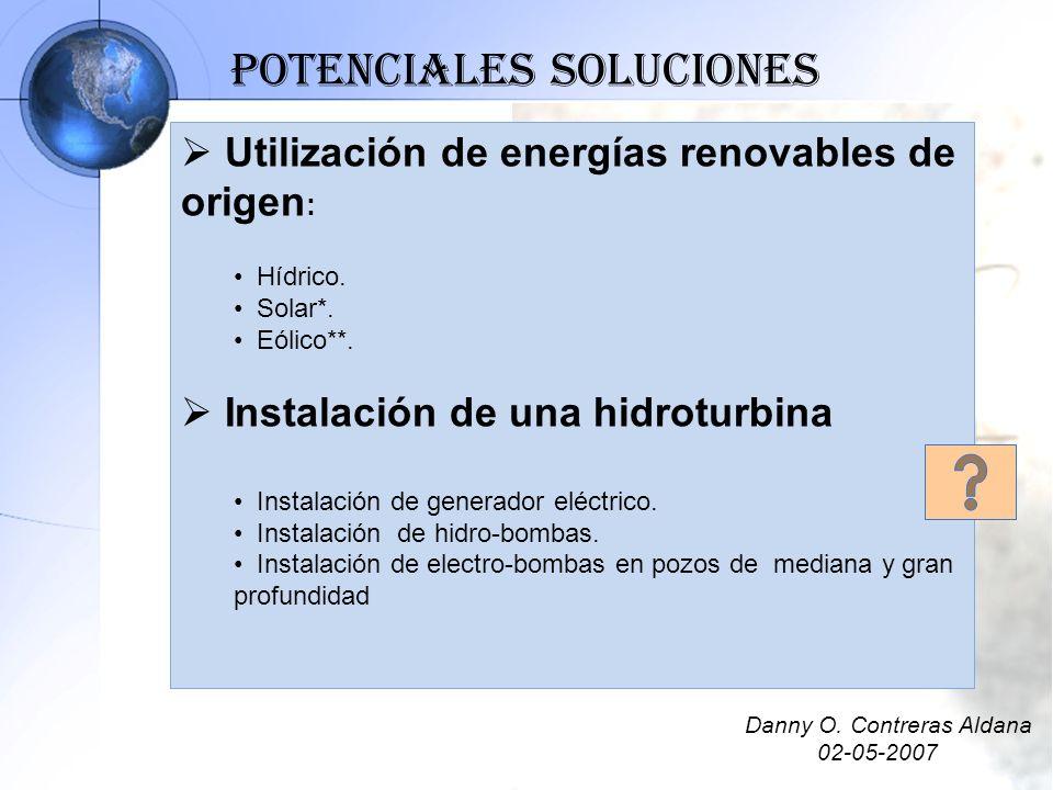 Utilización de energías renovables de origen : Hídrico. Solar*. Eólico**. Instalación de una hidroturbina Instalación de generador eléctrico. Instalac