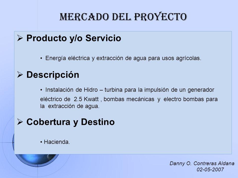 Producto y/o Servicio Energía eléctrica y extracción de agua para usos agrícolas. Descripción Instalación de Hidro – turbina para la impulsión de un g