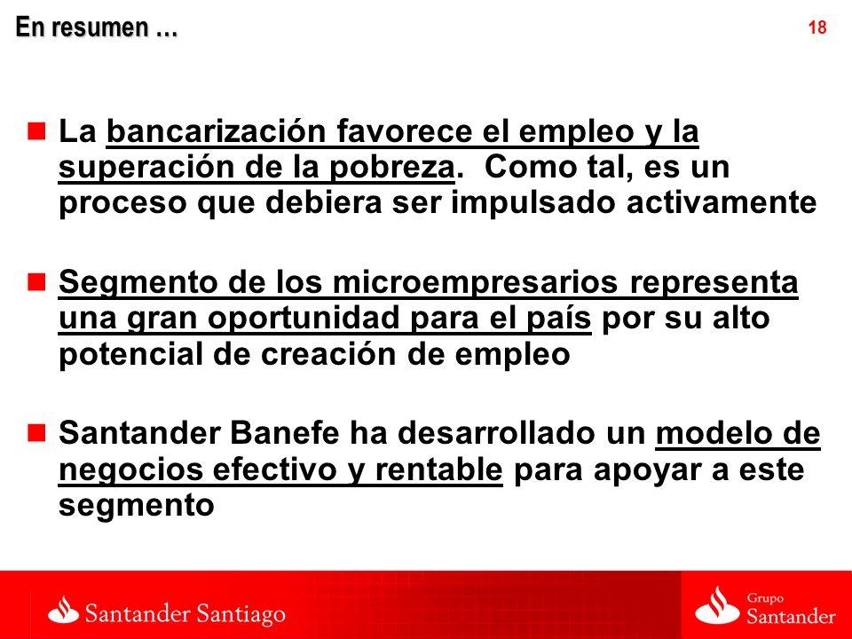 18 En resumen … La bancarización favorece el empleo y la superación de la pobreza.