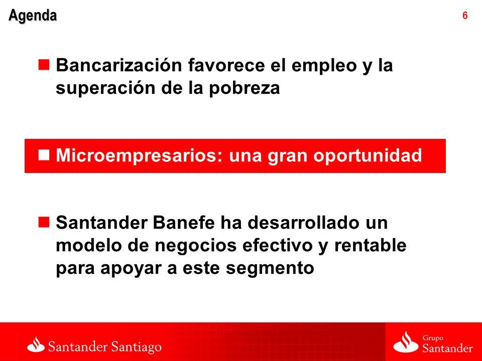 6 Agenda Bancarización favorece el empleo y la superación de la pobreza Microempresarios: una gran oportunidad Santander Banefe ha desarrollado un modelo de negocios efectivo y rentable para apoyar a este segmento
