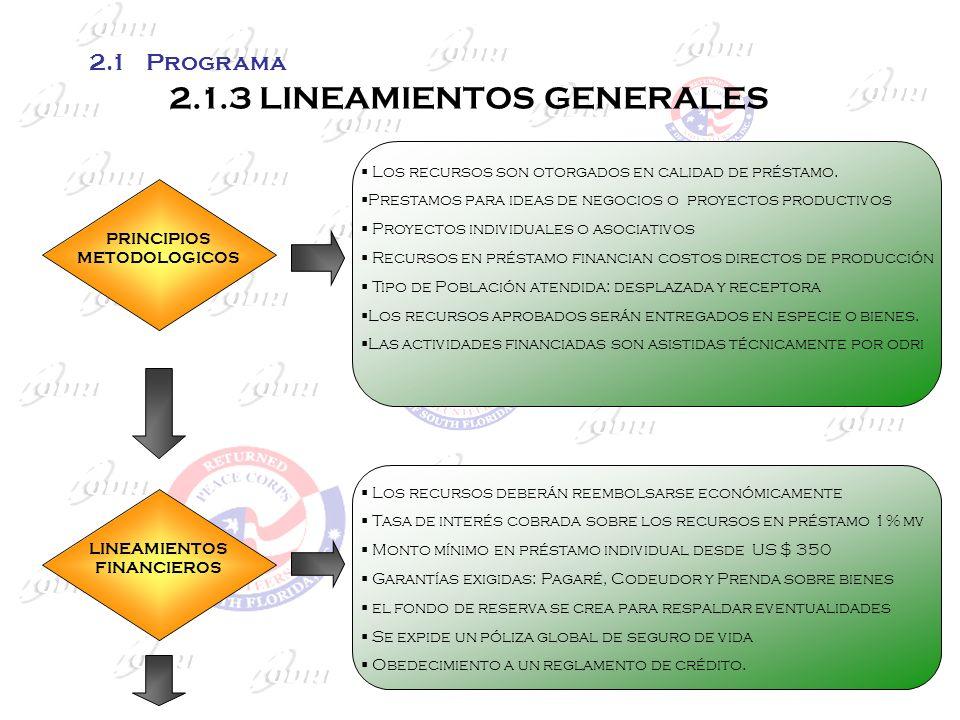 2.1.3 LINEAMIENTOS GENERALES PRINCIPIOS METODOLOGICOS Los recursos son otorgados en calidad de préstamo. Prestamos para ideas de negocios o proyectos