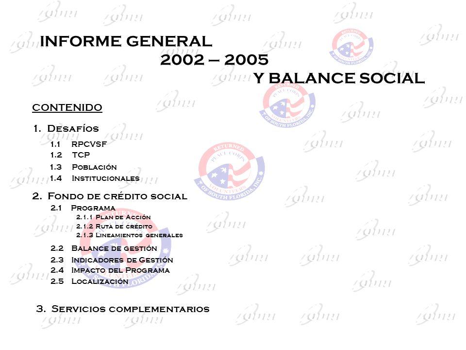 INFORME GENERAL 2002 – 2005 Y BALANCE SOCIAL 1. Desafíos 1.1 RPCVSF 1.2 TCP 1.3 Población 1.4 Institucionales 2. Fondo de crédito social 2.1 Programa