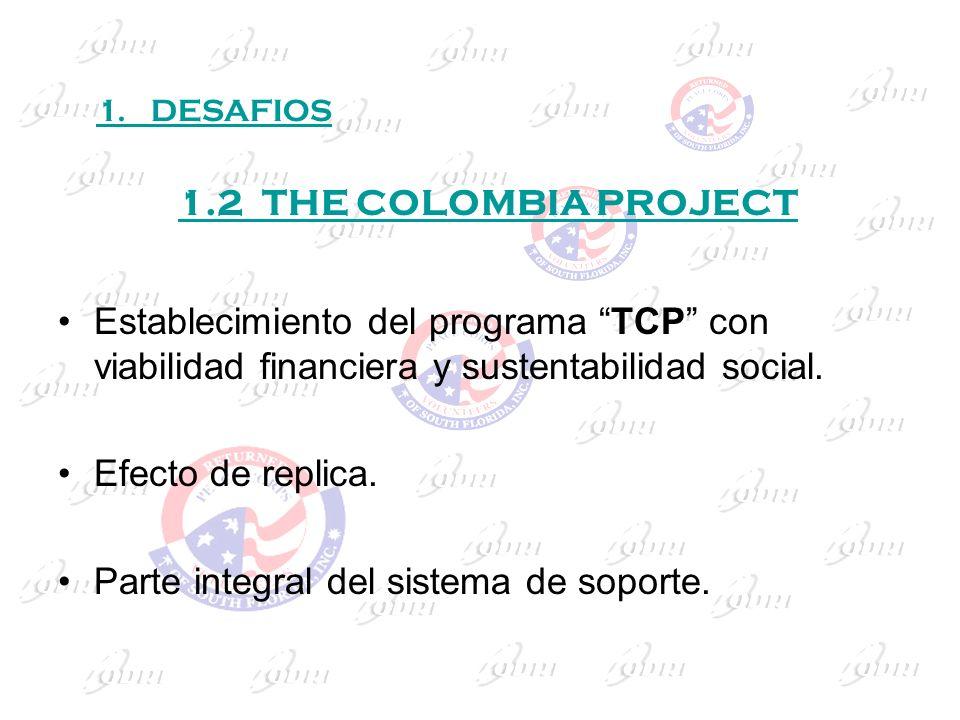 1.2 THE COLOMBIA PROJECT Establecimiento del programa TCP con viabilidad financiera y sustentabilidad social. Efecto de replica. Parte integral del si