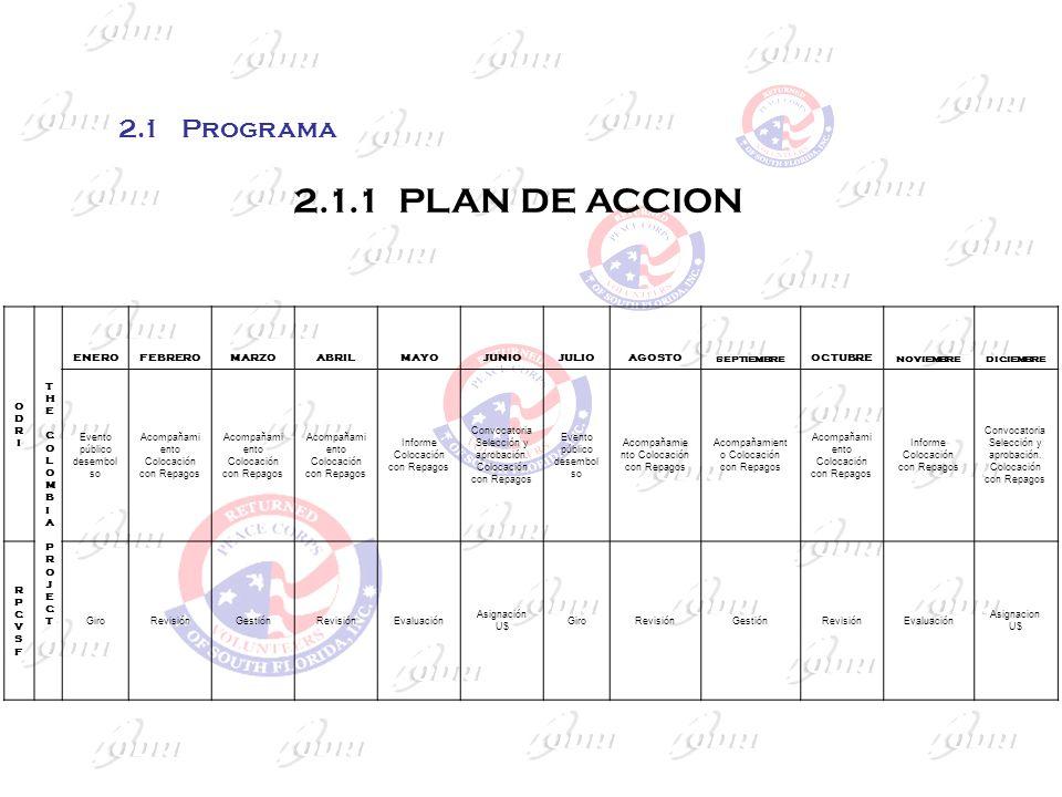 2.1.1 PLAN DE ACCION ODRIODRI THE COLOMBIA PROJECTTHE COLOMBIA PROJECT ENEROFEBREROMARZOABRILMAYOJUNIOJULIOAGOSTO SEPTIEMBRE OCTUBRE NOVIEMBREDICIEMBR