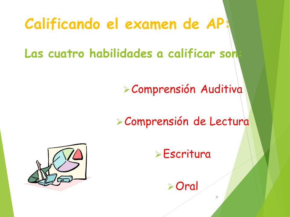 Calificando el examen de AP: Las cuatro habilidades a calificar son: Comprensión Auditiva Comprensión de Lectura Escritura Oral Comprensión Auditiva Comprensión de Lectura Escritura Oral 9