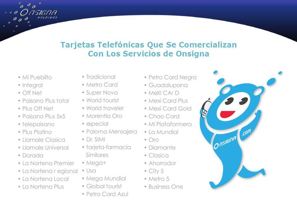 Tarjetas Telefónicas Que Se Comercializan Con Los Servicios de Onsigna