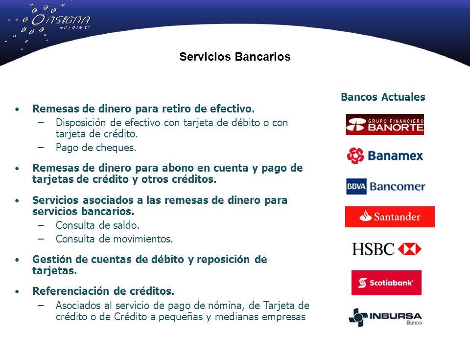 Servicios Bancarios Remesas de dinero para retiro de efectivo.