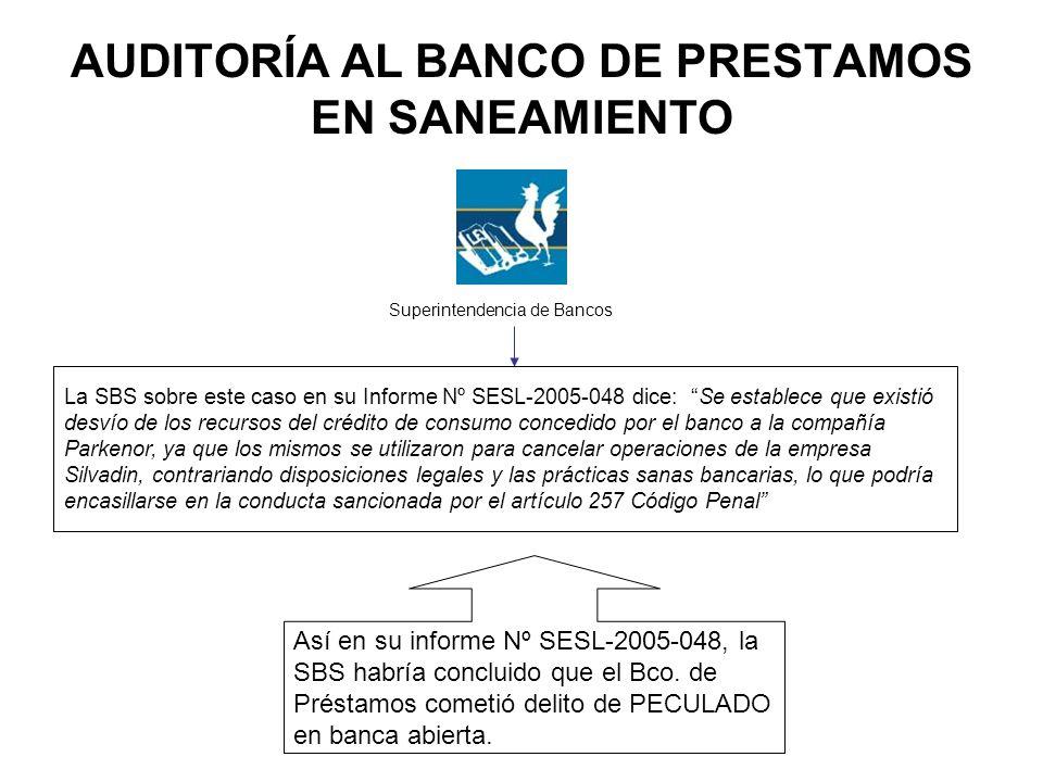 AUDITORÍA AL BANCO DE PRESTAMOS EN SANEAMIENTO Superintendencia de Bancos La SBS sobre este caso en su Informe Nº SESL-2005-048 dice: Se establece que