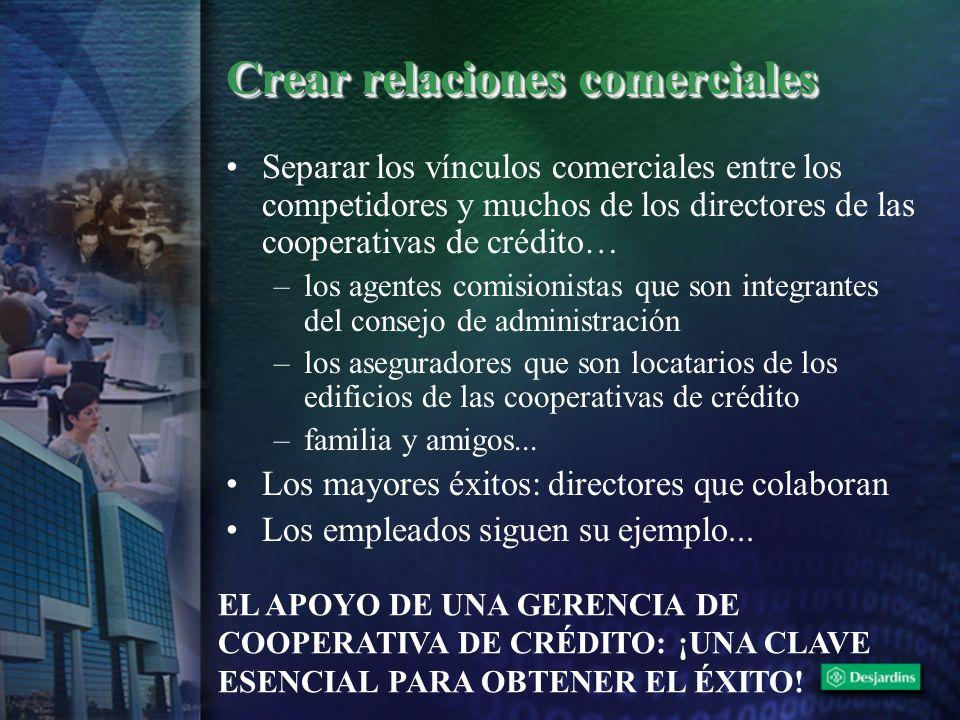Crear relaciones comerciales Separar los vínculos comerciales entre los competidores y muchos de los directores de las cooperativas de crédito… –los a