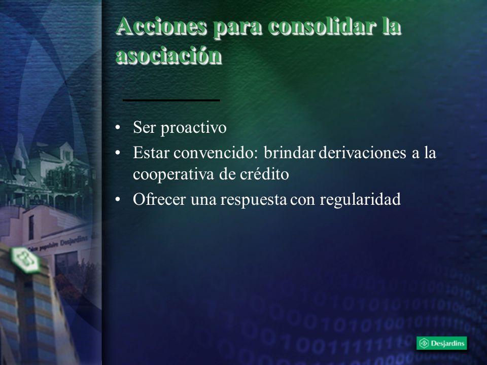 Acciones para consolidar la asociación Ser proactivo Estar convencido: brindar derivaciones a la cooperativa de crédito Ofrecer una respuesta con regu