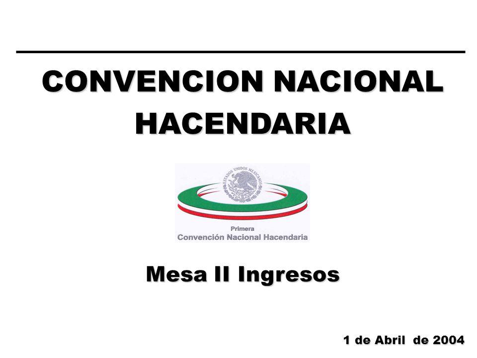CONVENCION NACIONAL HACENDARIA Mesa II Ingresos 1 de Abril de 2004