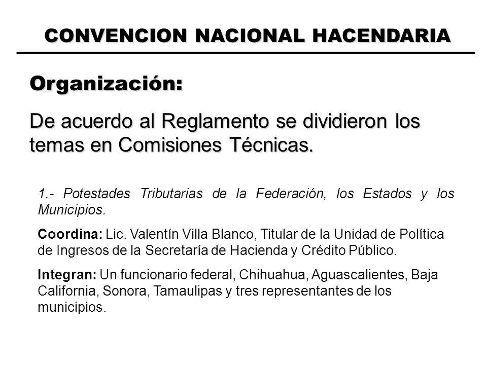 CONVENCION NACIONAL HACENDARIA Organización: De acuerdo al Reglamento se dividieron los temas en Comisiones Técnicas.