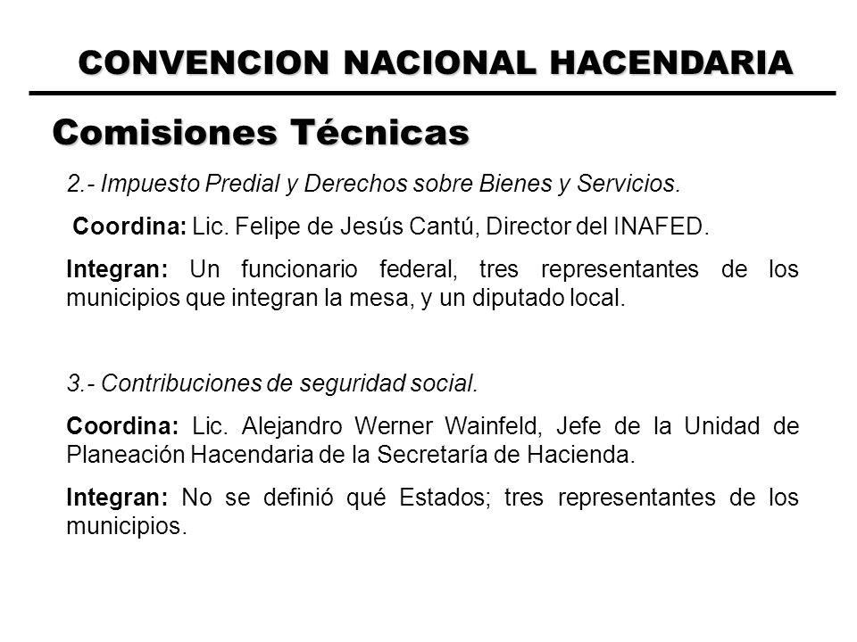 CONVENCION NACIONAL HACENDARIA Comisiones Técnicas 2.- Impuesto Predial y Derechos sobre Bienes y Servicios.