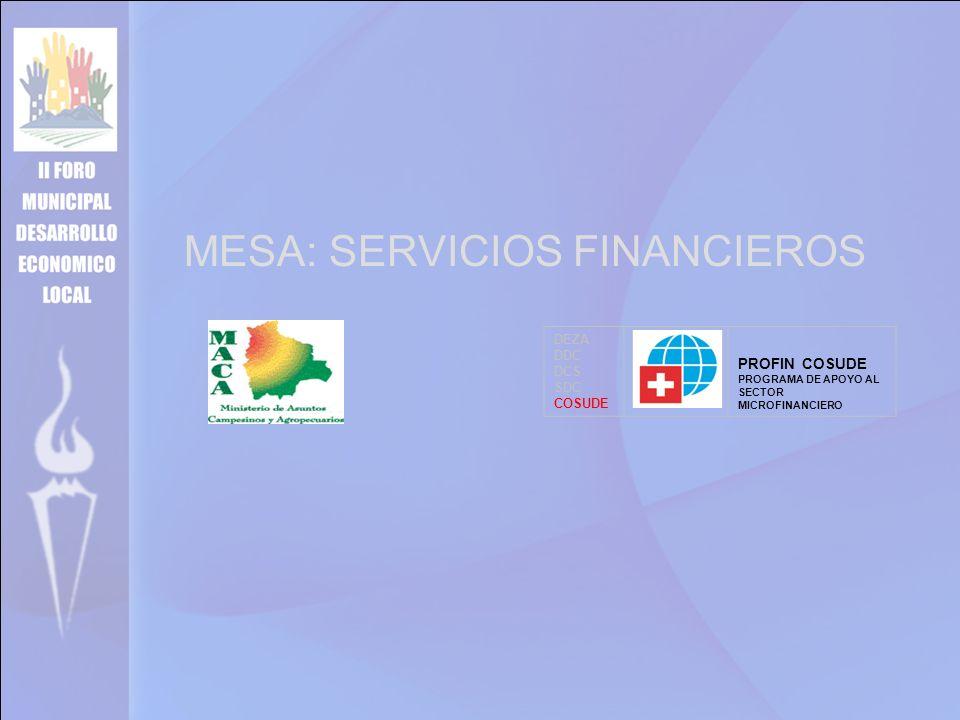 MESA: SERVICIOS FINANCIEROS DEZA DDC DCS SDC COSUDE PROFIN COSUDE PROGRAMA DE APOYO AL SECTOR MICROFINANCIERO