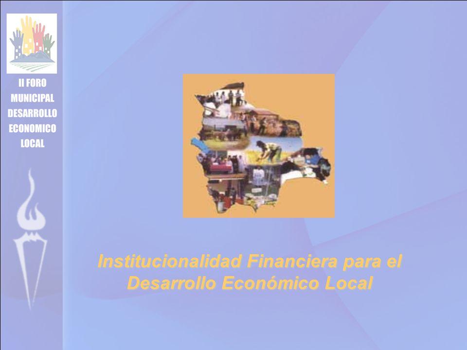 Institucionalidad Financiera para el Desarrollo Económico Local