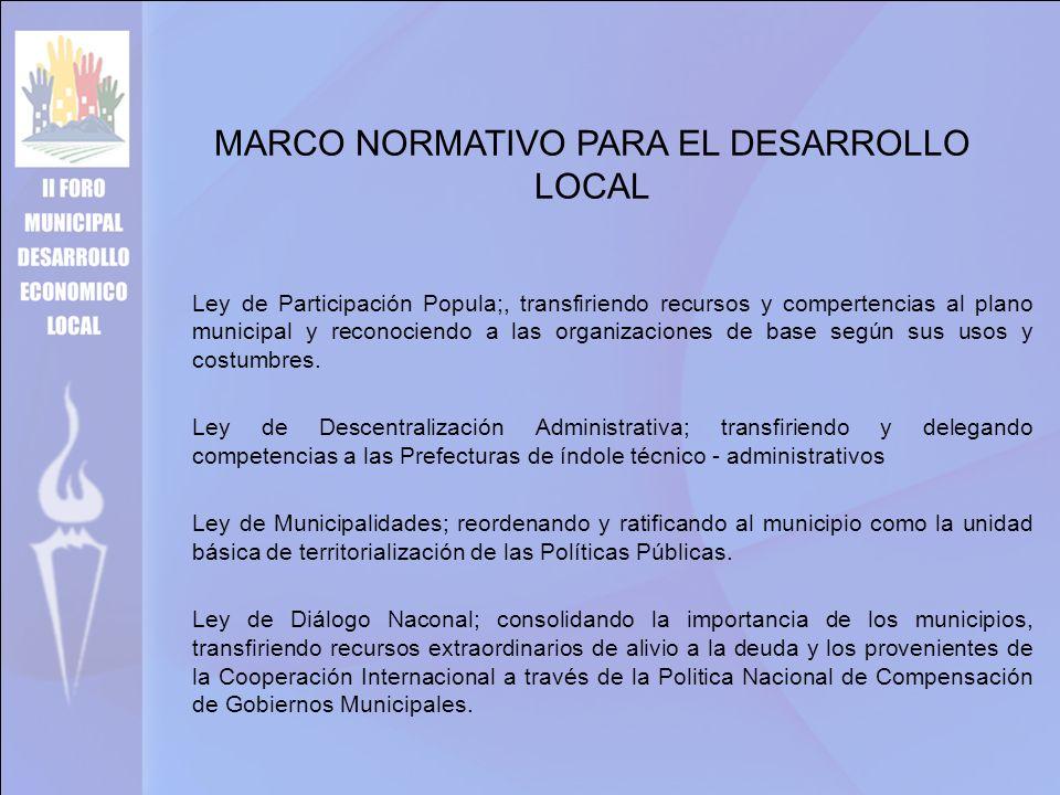 MARCO NORMATIVO PARA EL DESARROLLO LOCAL Ley de Participación Popula;, transfiriendo recursos y compertencias al plano municipal y reconociendo a las organizaciones de base según sus usos y costumbres.