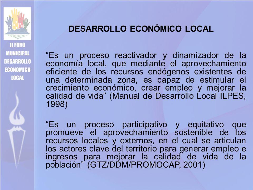 DESARROLLO ECONÓMICO LOCAL Es un proceso reactivador y dinamizador de la economía local, que mediante el aprovechamiento eficiente de los recursos endógenos existentes de una determinada zona, es capaz de estimular el crecimiento económico, crear empleo y mejorar la calidad de vida (Manual de Desarrollo Local ILPES, 1998) Es un proceso participativo y equitativo que promueve el aprovechamiento sostenible de los recursos locales y externos, en el cual se articulan los actores clave del territorio para generar empleo e ingresos para mejorar la calidad de vida de la población (GTZ/DDM/PROMOCAP, 2001)