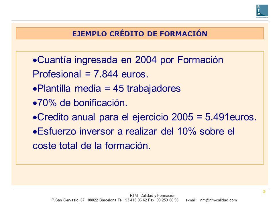 5 RTM Calidad y Formación P.SanGervasio, 67 08022 Barcelona Tel.