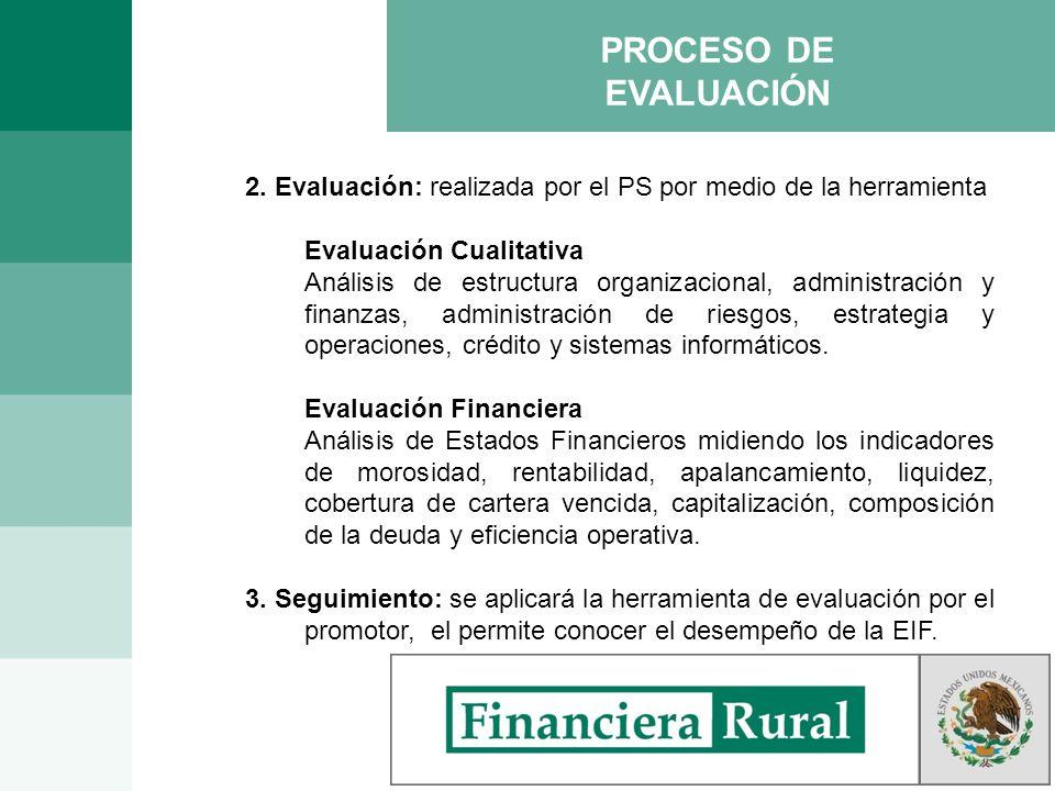 PROCESO DE EVALUACIÓN 2. Evaluación: realizada por el PS por medio de la herramienta Evaluación Cualitativa Análisis de estructura organizacional, adm