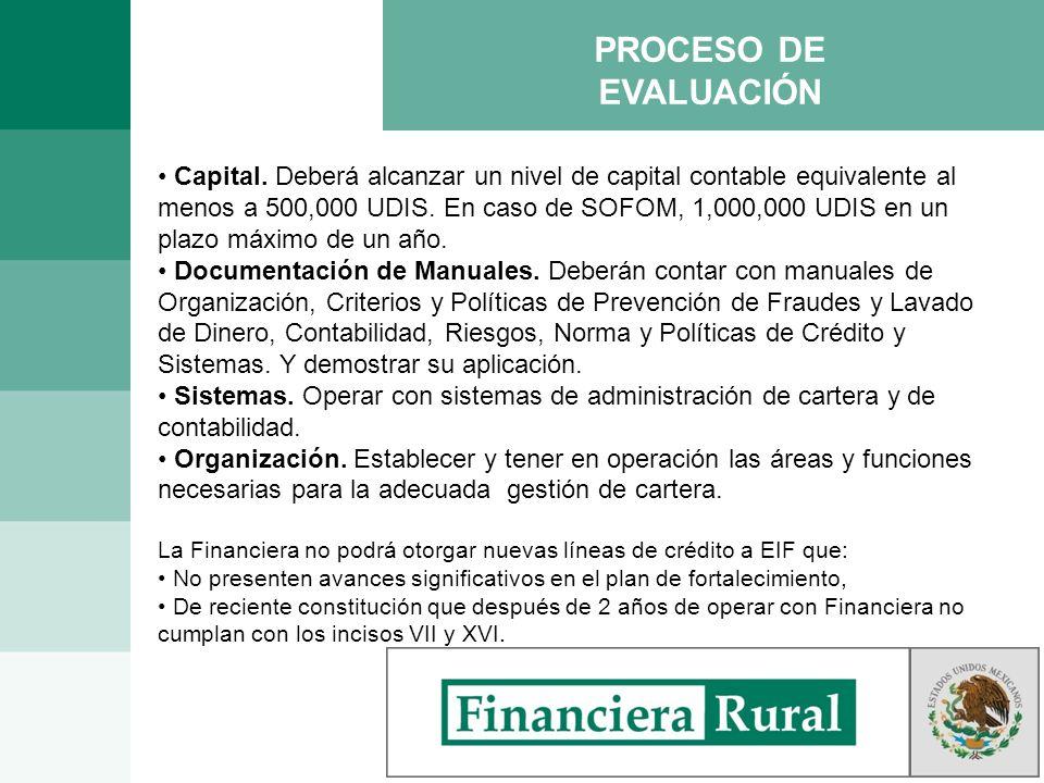 PROCESO DE EVALUACIÓN Capital. Deberá alcanzar un nivel de capital contable equivalente al menos a 500,000 UDIS. En caso de SOFOM, 1,000,000 UDIS en u