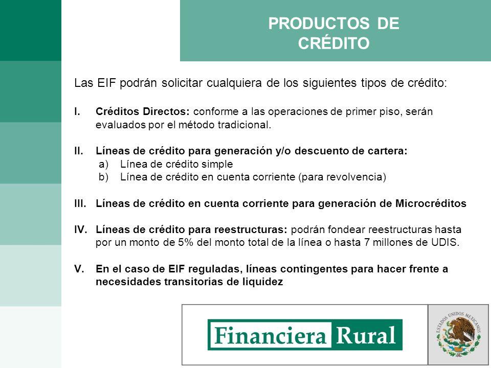 PRODUCTOS DE CRÉDITO Las EIF podrán solicitar cualquiera de los siguientes tipos de crédito: I.Créditos Directos: conforme a las operaciones de primer