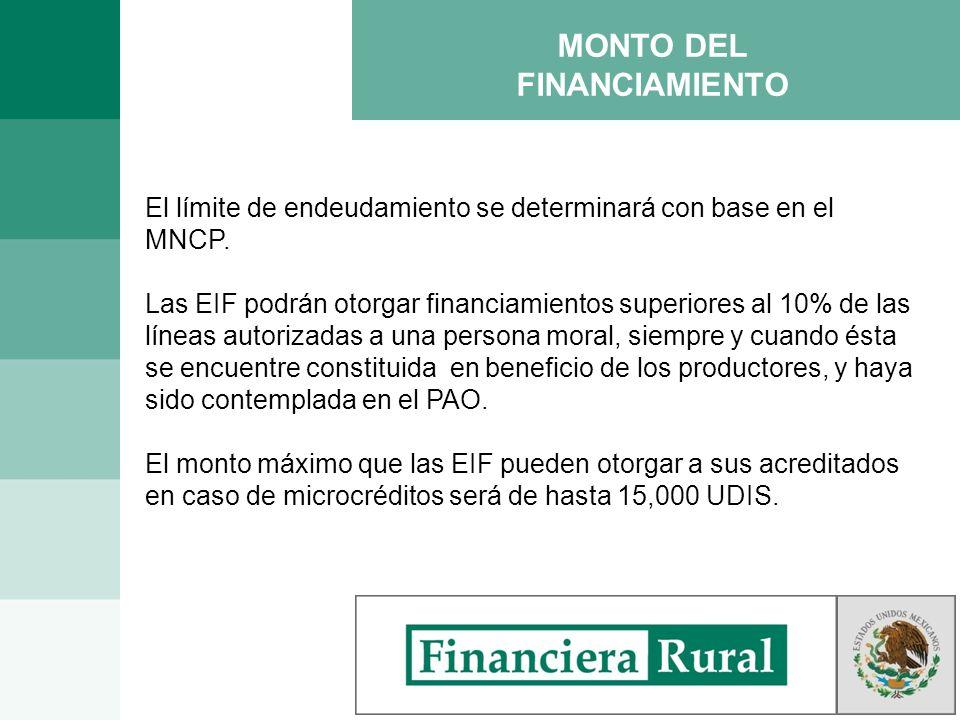 MONTO DEL FINANCIAMIENTO El límite de endeudamiento se determinará con base en el MNCP. Las EIF podrán otorgar financiamientos superiores al 10% de la