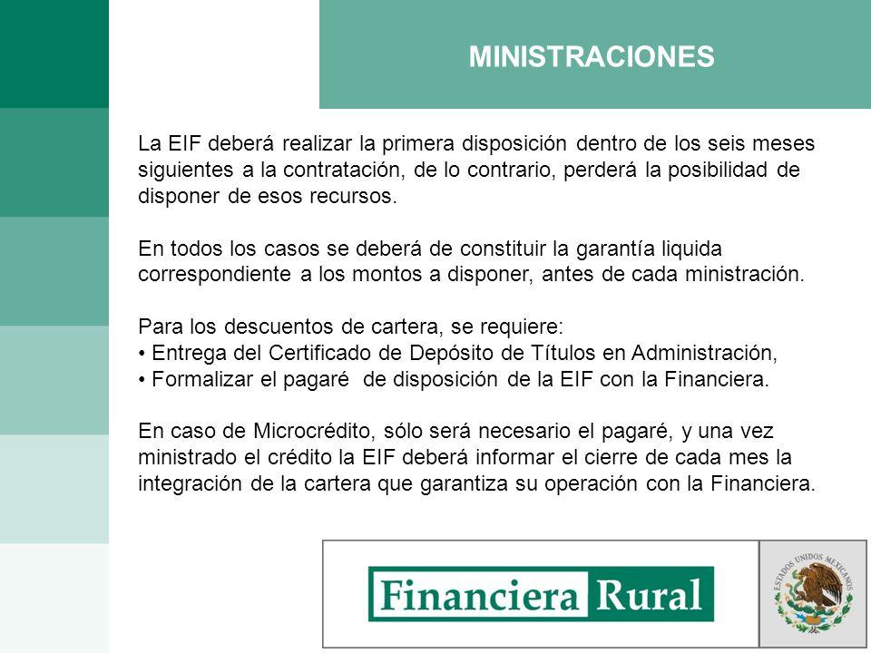 MINISTRACIONES La EIF deberá realizar la primera disposición dentro de los seis meses siguientes a la contratación, de lo contrario, perderá la posibi