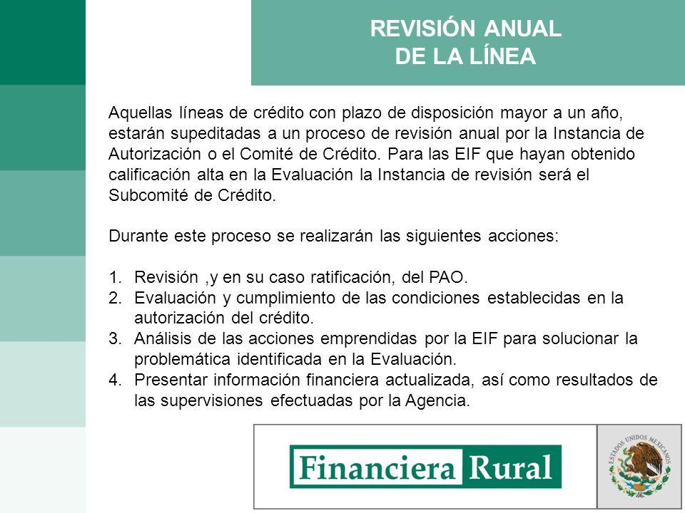 REVISIÓN ANUAL DE LA LÍNEA Aquellas líneas de crédito con plazo de disposición mayor a un año, estarán supeditadas a un proceso de revisión anual por