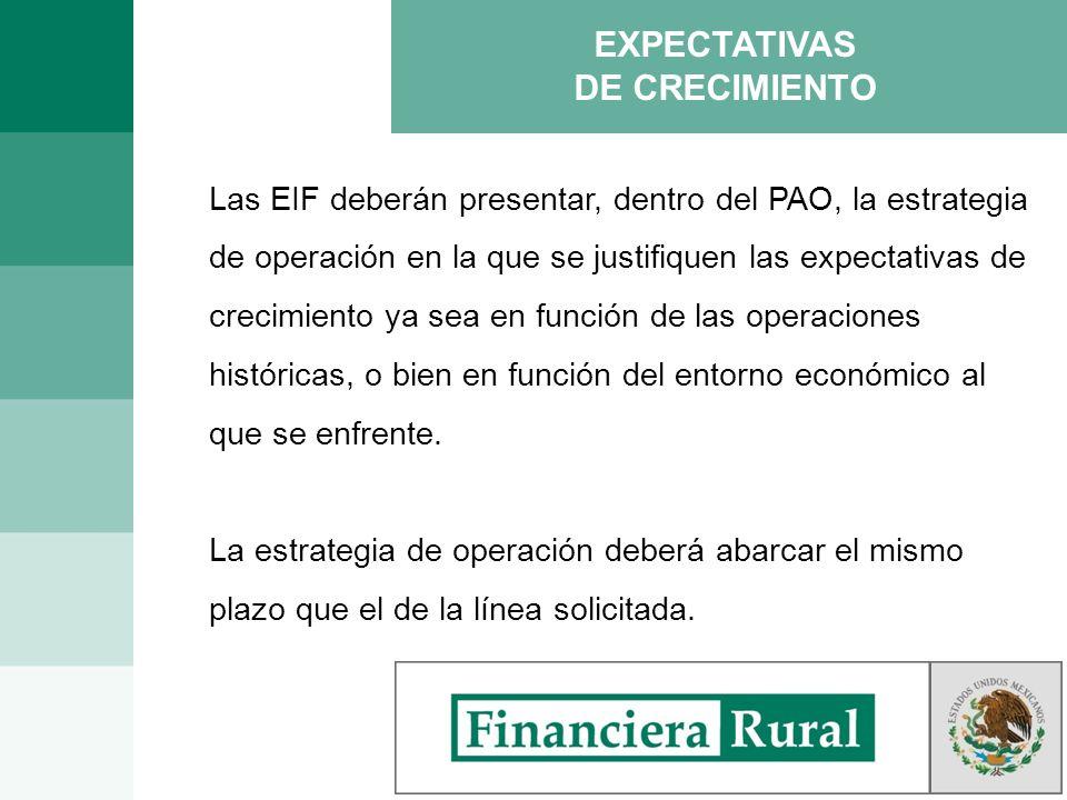 EXPECTATIVAS DE CRECIMIENTO Las EIF deberán presentar, dentro del PAO, la estrategia de operación en la que se justifiquen las expectativas de crecimi