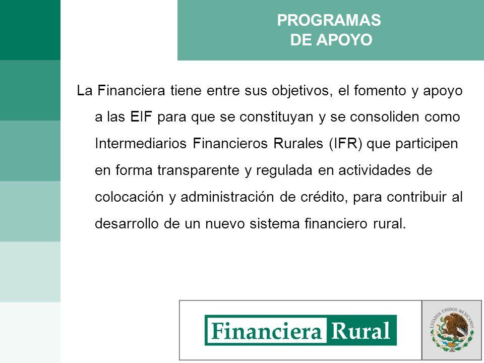 PROGRAMAS DE APOYO La Financiera tiene entre sus objetivos, el fomento y apoyo a las EIF para que se constituyan y se consoliden como Intermediarios F
