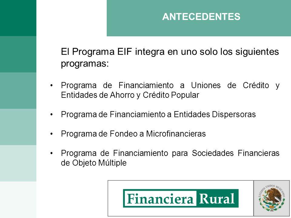 El Programa EIF integra en uno solo los siguientes programas: Programa de Financiamiento a Uniones de Crédito y Entidades de Ahorro y Crédito Popular