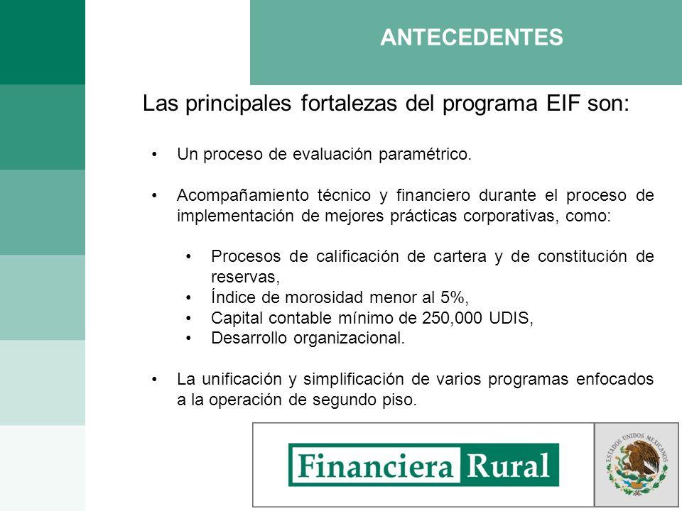 Las principales fortalezas del programa EIF son: Un proceso de evaluación paramétrico. Acompañamiento técnico y financiero durante el proceso de imple