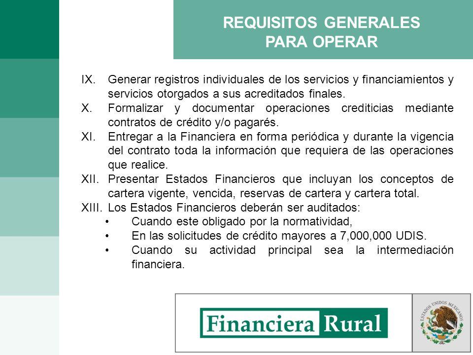 IX.Generar registros individuales de los servicios y financiamientos y servicios otorgados a sus acreditados finales. X.Formalizar y documentar operac