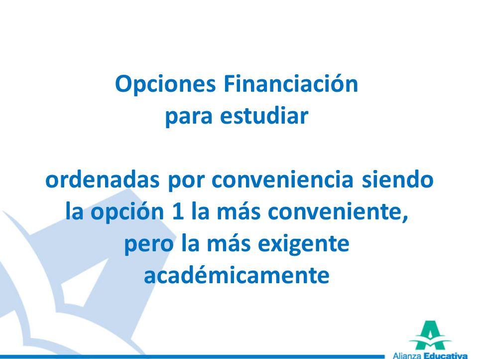 Opciones Financiación para estudiar ordenadas por conveniencia siendo la opción 1 la más conveniente, pero la más exigente académicamente