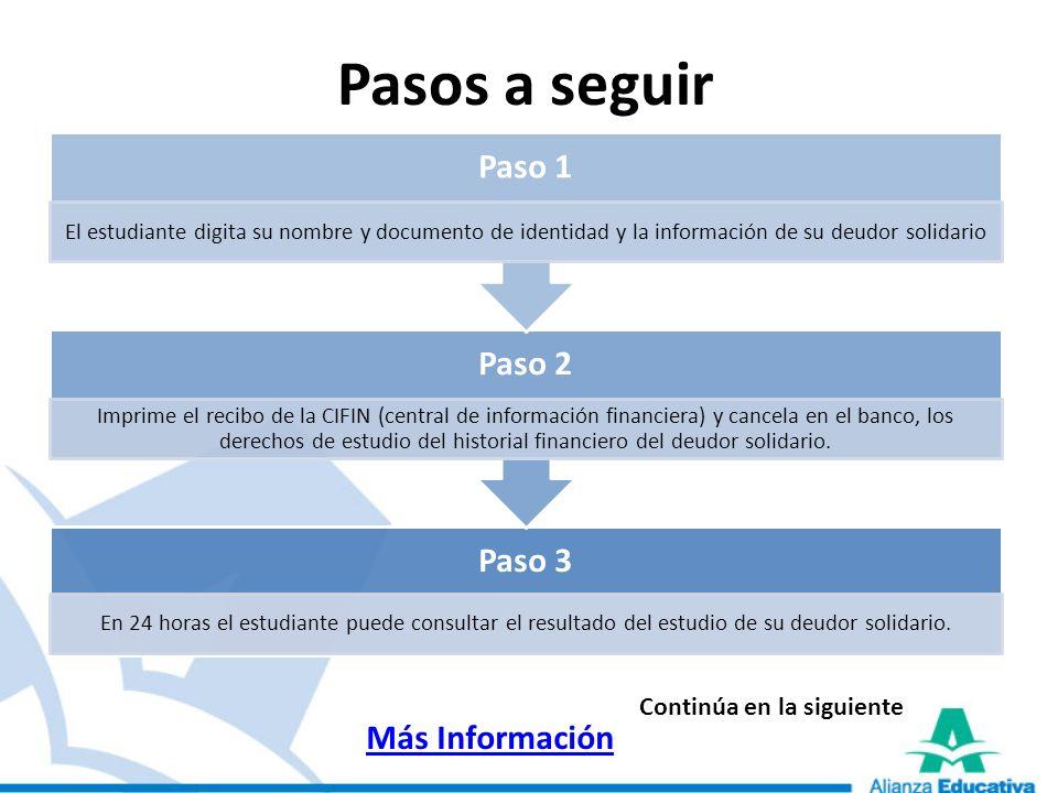 Pasos a seguir Paso 3 En 24 horas el estudiante puede consultar el resultado del estudio de su deudor solidario. Paso 2 Imprime el recibo de la CIFIN