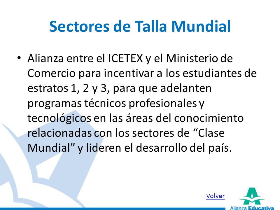 Sectores de Talla Mundial Alianza entre el ICETEX y el Ministerio de Comercio para incentivar a los estudiantes de estratos 1, 2 y 3, para que adelant