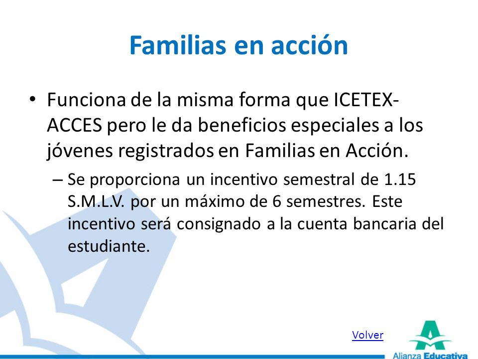 Familias en acción Funciona de la misma forma que ICETEX- ACCES pero le da beneficios especiales a los jóvenes registrados en Familias en Acción. – Se