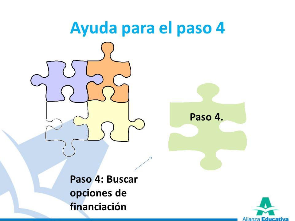 Ayuda para el paso 4 Paso 4. Paso 4: Buscar opciones de financiación